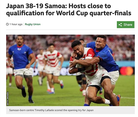 日本 ラグビー ワールド 海外 反応 カップ の
